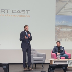 Dans l'ancienne Halle Freyssinet, à Paris, lors des rencontres annuelles de l'industrie cimentière, plusieurs start-up ont pris la parole pour présenter leurs activités. [©ACPresse]