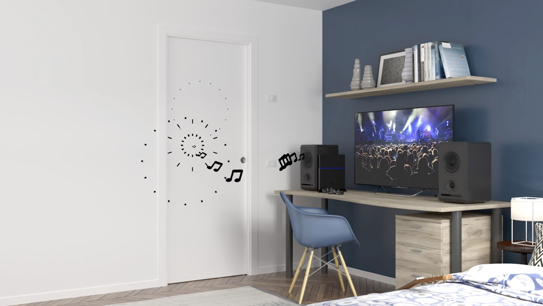 Les portes Unique 32 dB et Unique 43 db sont idéales pour les salles de bain, les chambres ou encore les pièces de vie, comme le salon, la salle à manger ou la cuisine. [©Eclisse]