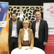 Frédéric Grand, président de coBuilder, Sylvie Valladeau Roncin, directeur général de la Fib et Bernard Specht, directeur commercial de datBIM. [©Fib]