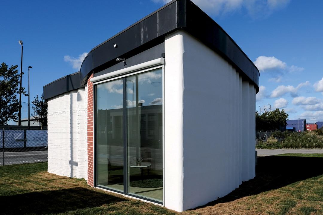 Le premier bâtiment Bod réalisé avec une imprimante Cobod. [©Peri]