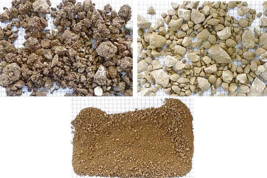 - Les matériaux alimentés sont collants, argileux et considérés comme stériles. - Aspect des matériaux en sortie du Combimix, après criblage.  - Matériels argileux criblés, en sortie de crible. [©BHS-Sonthofen]