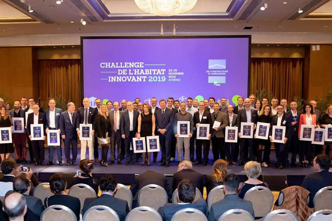 Les lauréats du Challenge de l'habitat innovant 2019 récompensés à l'occasion du séminaire technique du LCA-FFB, à Athènes. [©LCA-FFB]