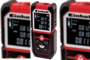 Dans sa version 50 m, le télémètre laser d'Einhell TC-LD 50 permet de mesurer les longueurs, et de calculer les surfaces et les volumes. [©Einhell]
