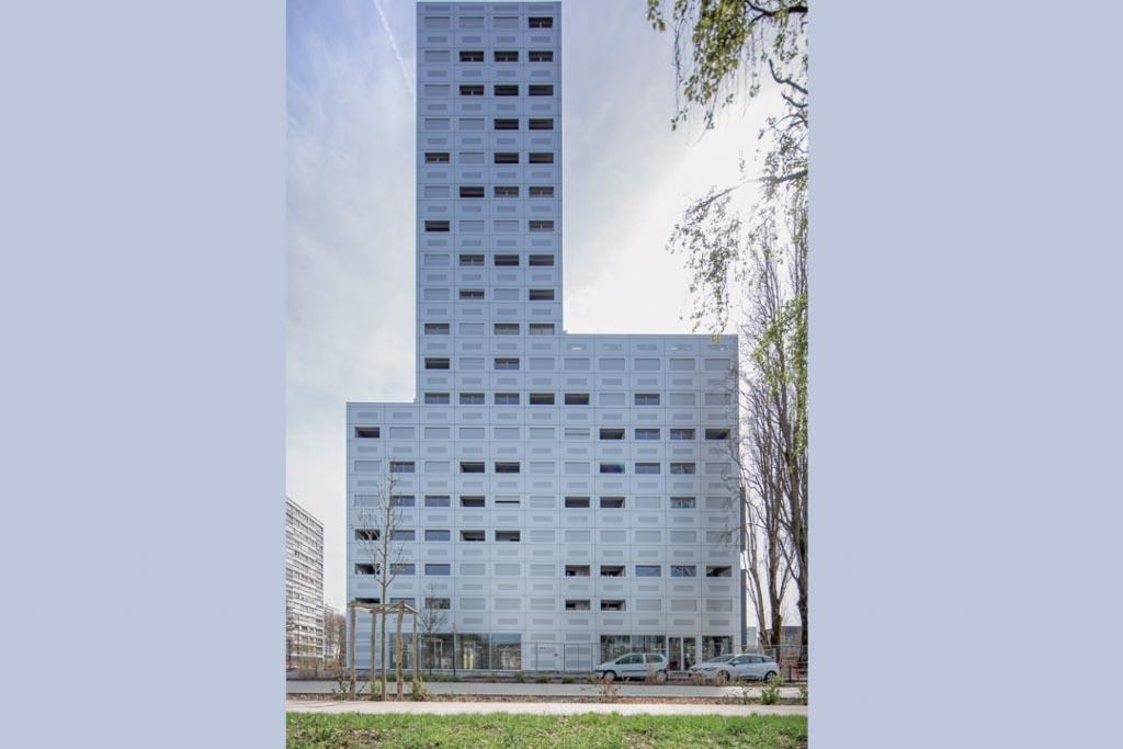 Tour Polaris, à Nantes (44), isolée en ITE par Foamglas, avec impact sur le C+D. [©Lan Architecture]