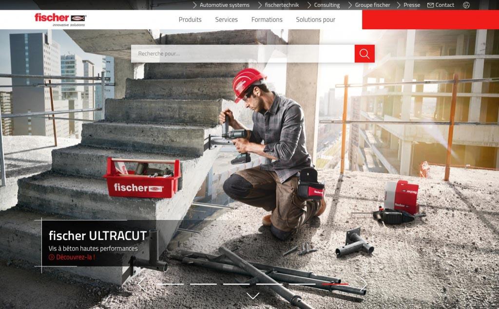 """Le site fischer.fr permet à l'internaute d'accéder au catalogue, via la rubrique """"Produits"""". [©Fischer]"""