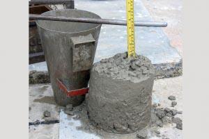 Test d'affaissement (slump) d'un béton. [©Hydronix]