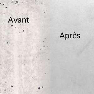 Voile en béton, avant et après application du PCI Ragré Mur Fin. [©PCI]