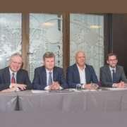 De gauche à droite, Benoist Thomas, secrétaire général du SBPE, Jean-Marc Goldberg, président du SNBPE, Azziz Ouattou, président de la commission développement du SNBPE, et Olivier Stépha, délégué régional Grand Ouest du SNBPE. [©ACPresse]