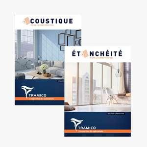 Les deux nouveaux catalogues recensent les grandes familles de solutions de l'entreprise : l'étanchéité et l'acoustique. [© Tramico ]